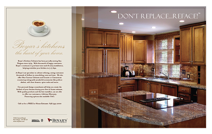 Our work print san diego web design san diego web design for Boyars kitchen cabinets